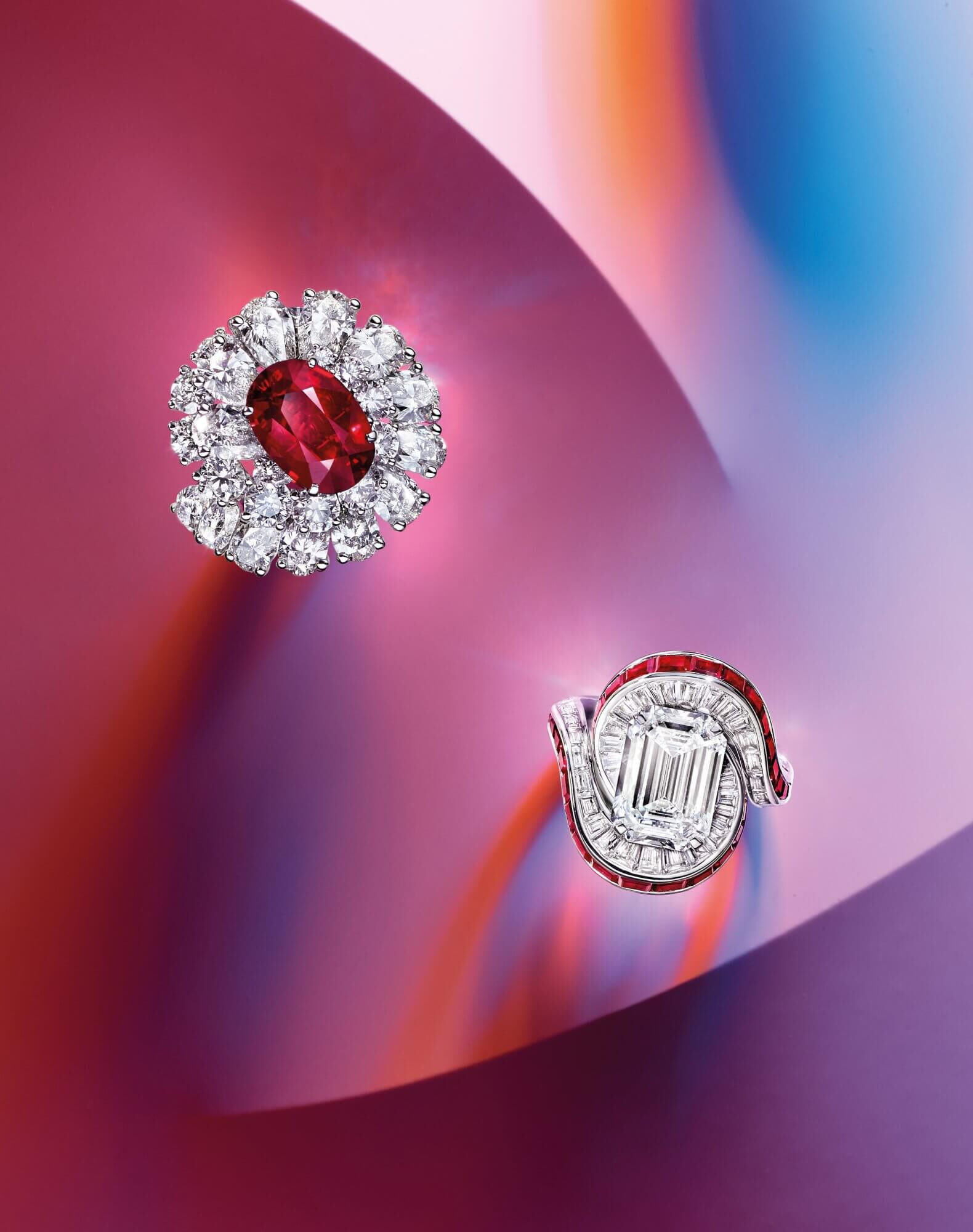 Two Graff Ruby and Diamond Rings
