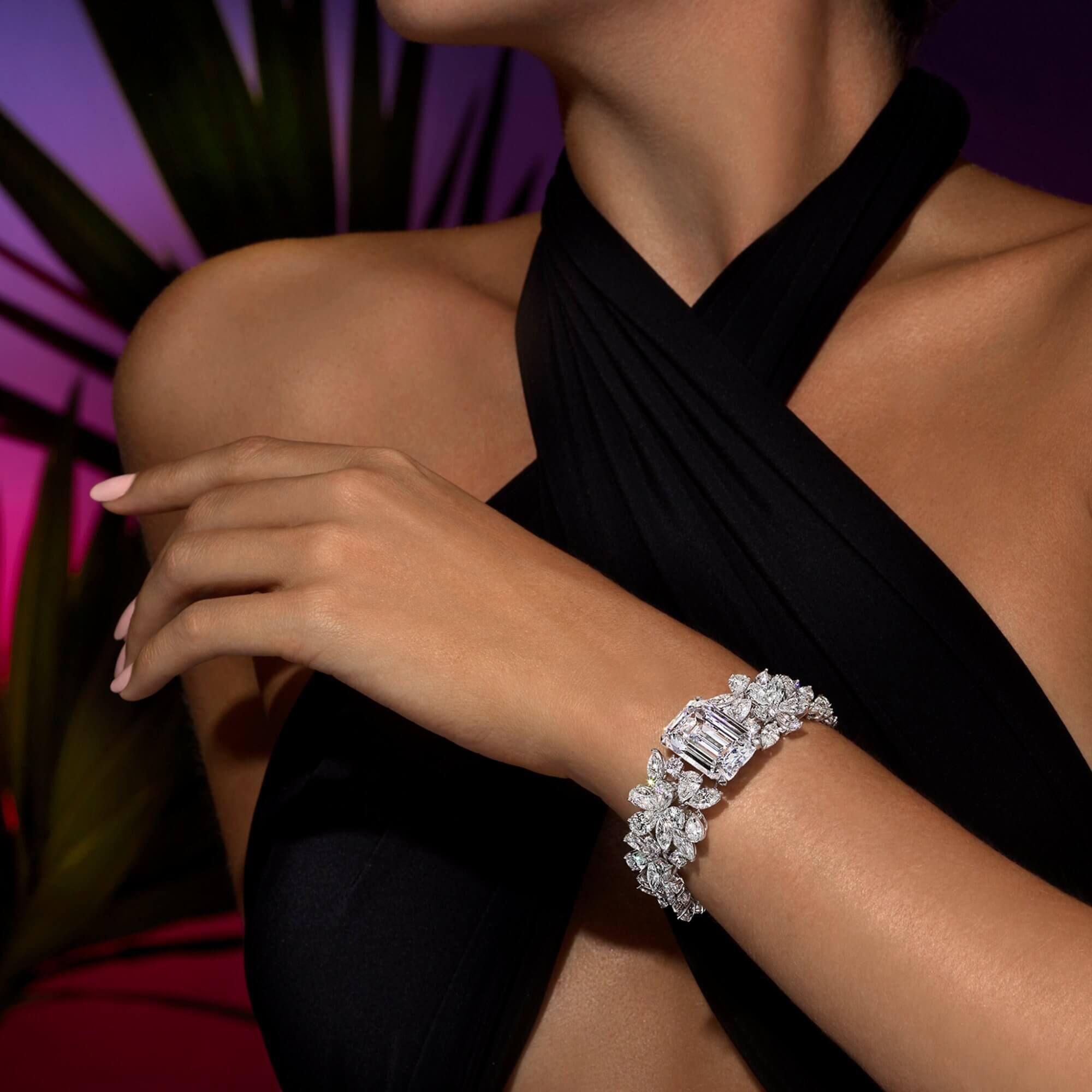 A model wearing a Graff jewellery diamond bracelet