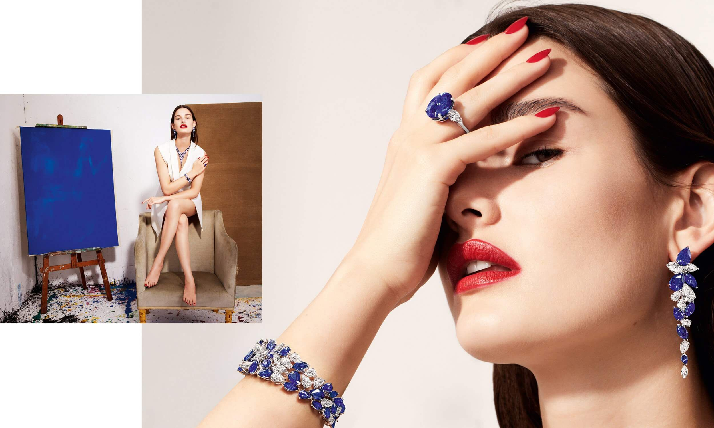Model wears Graff sapphire and white diamond high jewellery earrings and ring