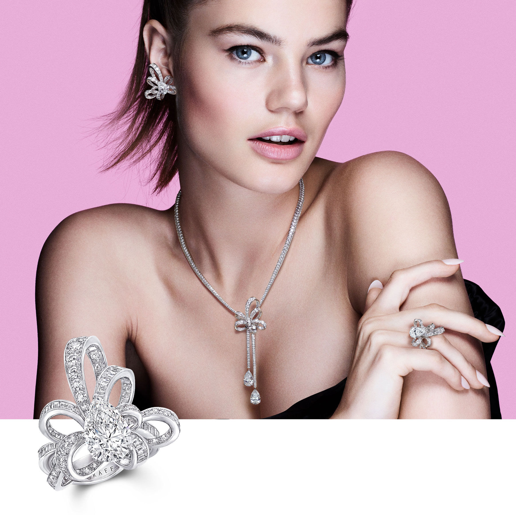 Model wears the Graff Tilda's Bow diamond jewellery with a featured ring