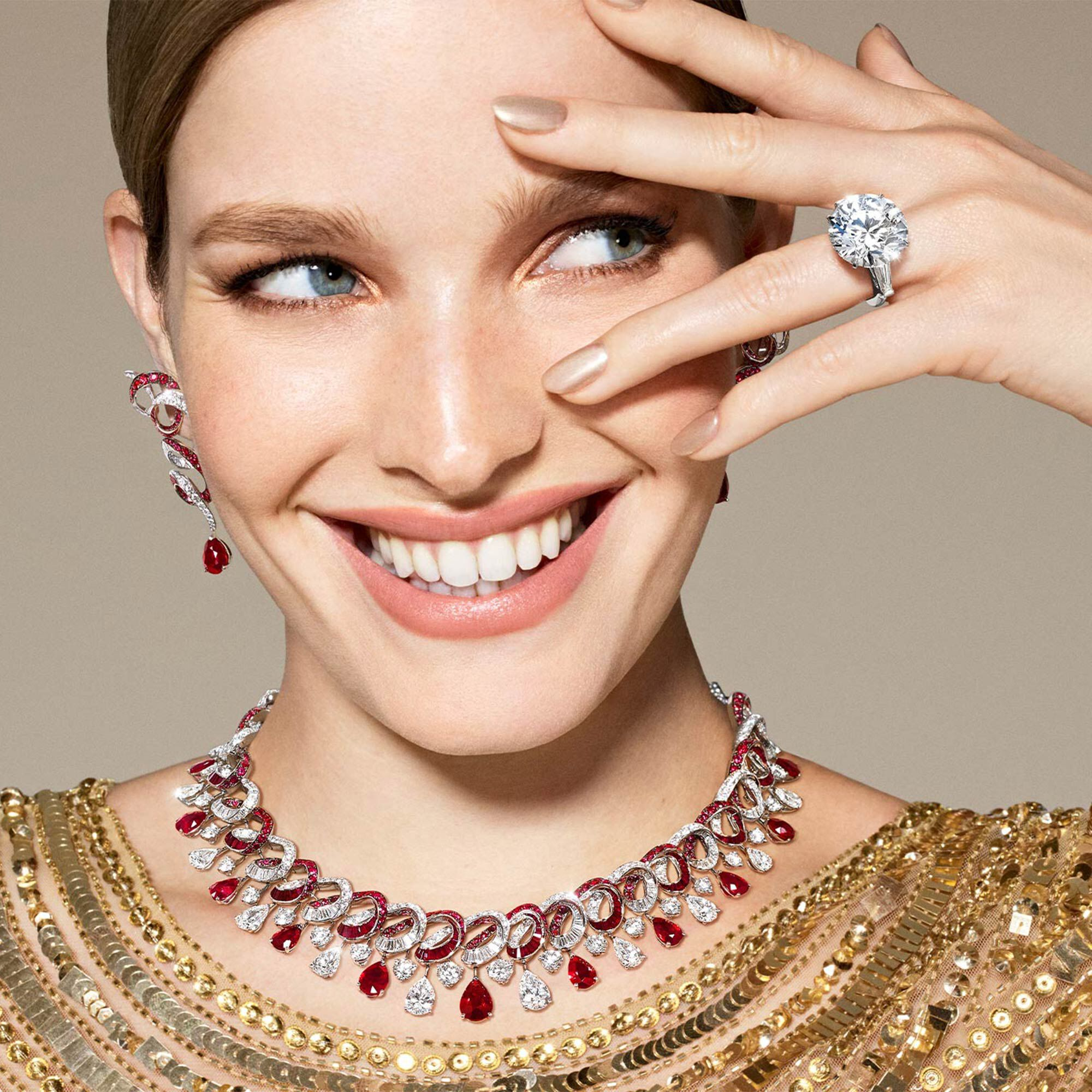Model wears Graff ruby and white diamond high jewellery