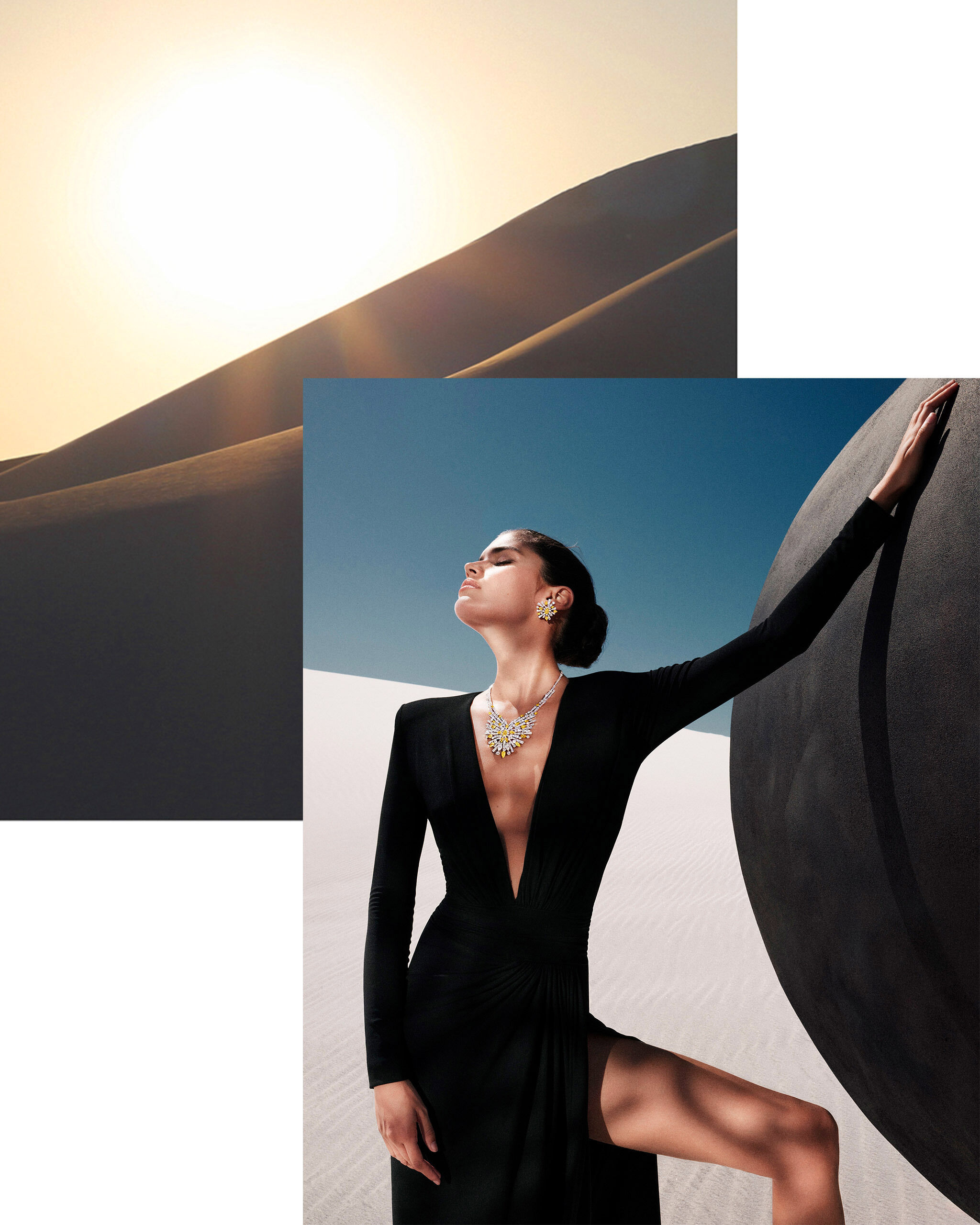 Picture of a model wearing Graff New Dawn collection diamond jewellery and landscape of a desert