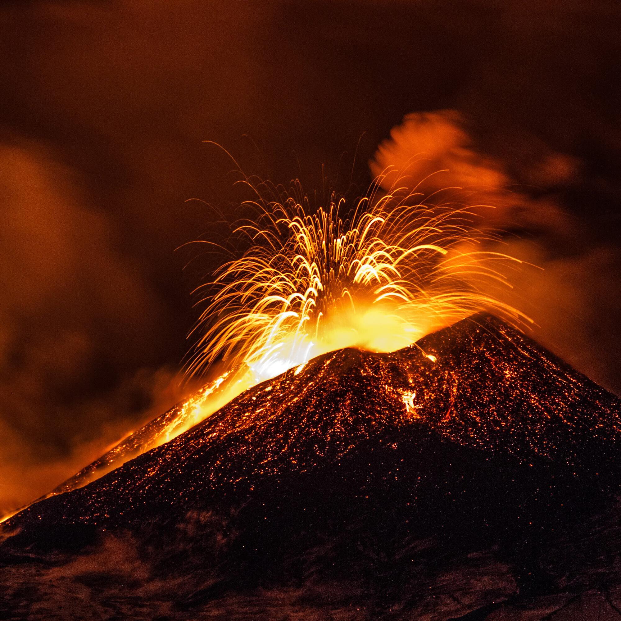 Diamonds and Volcano eruptions.