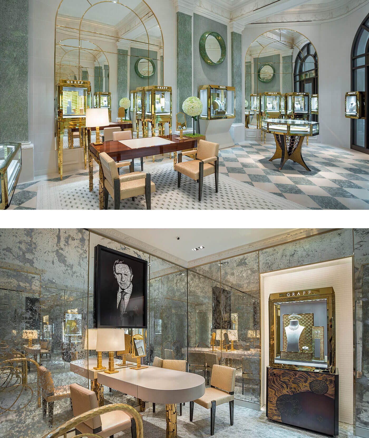 Photos of the Interior of the Graff jewellery flagship boutique in Paris, France