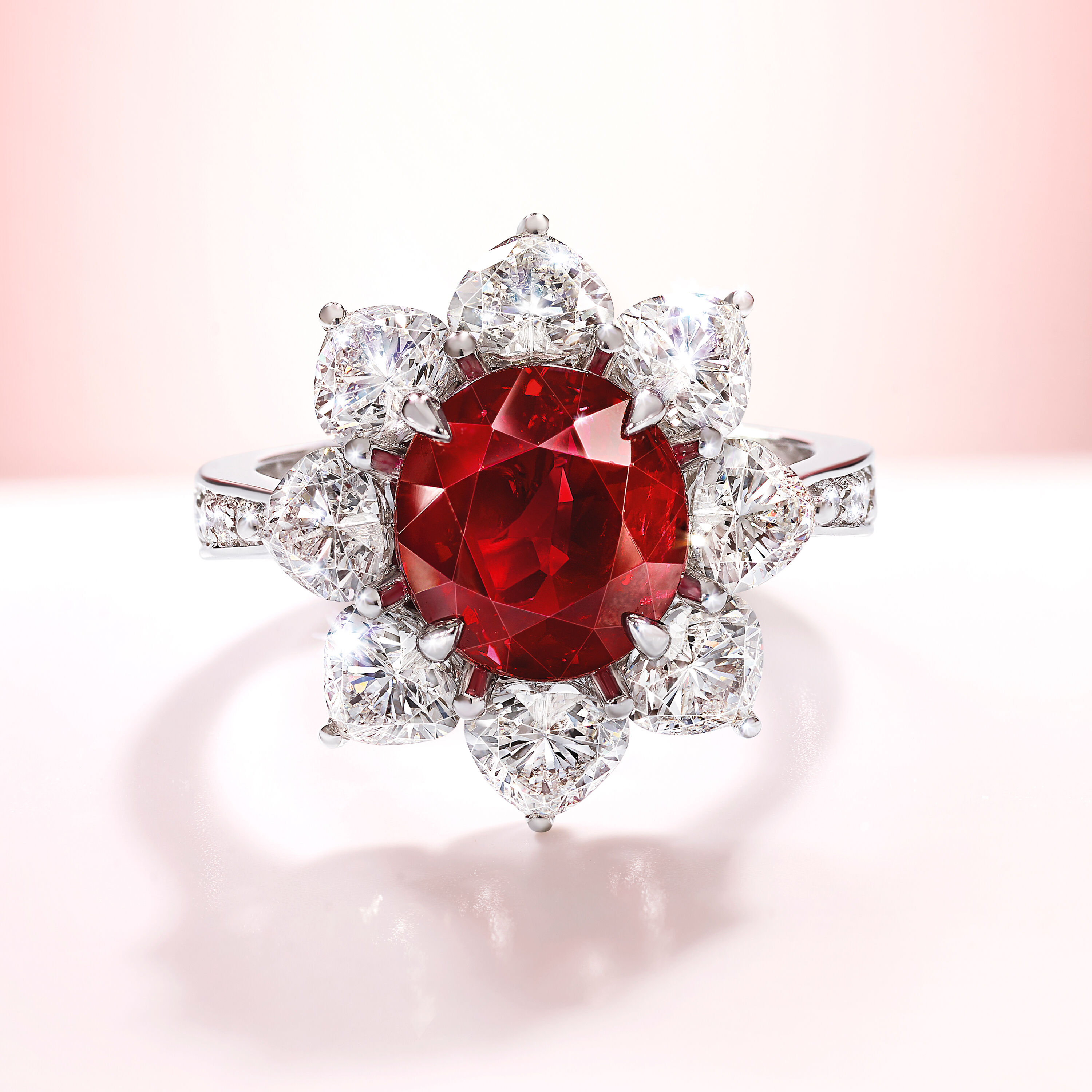 An oval ruby and white diamond ring by Graff