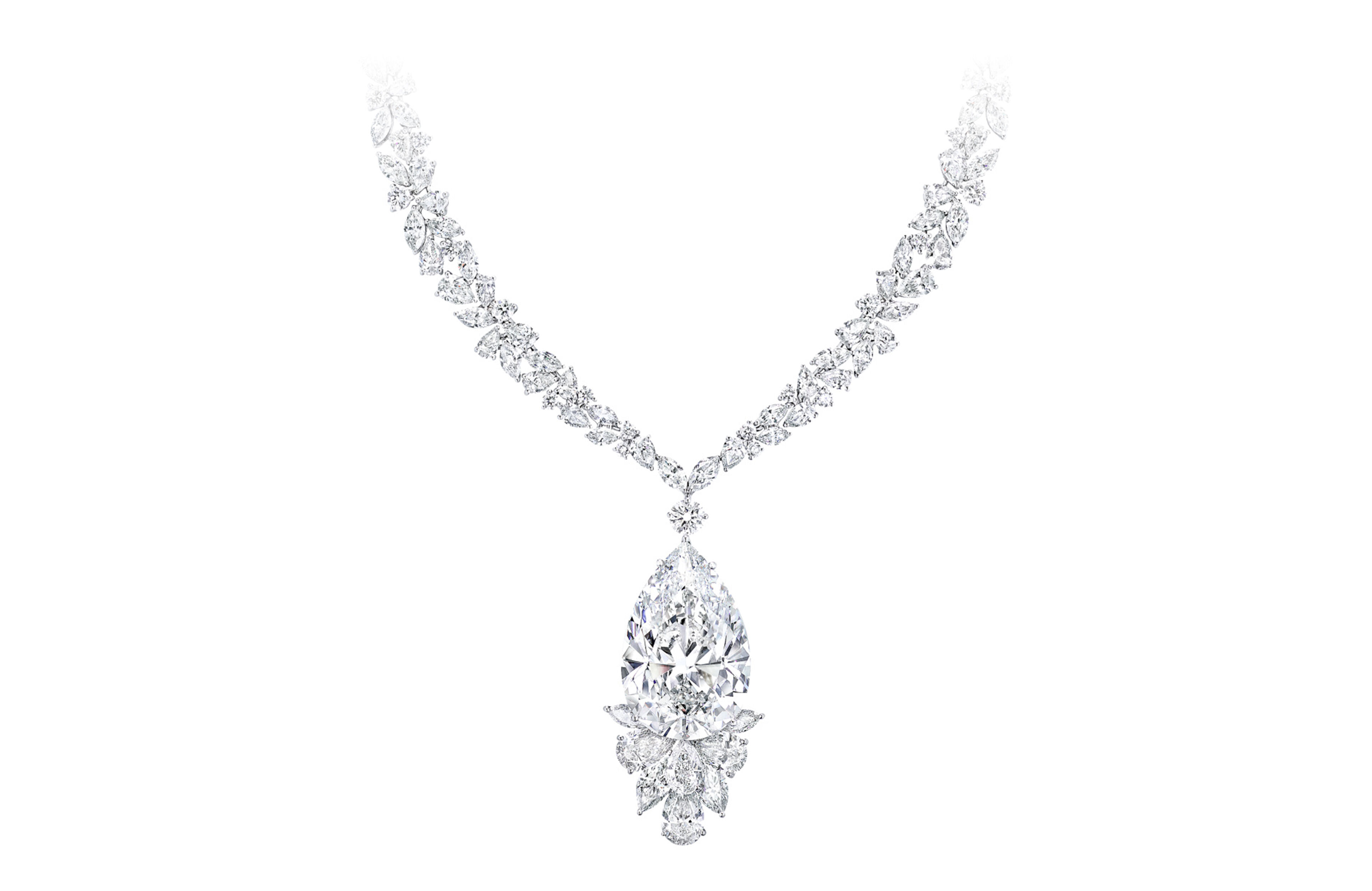 A Graff white diamond high jewellery necklace featuring a pear shape diamond from the famous Meya Prosperity diamond