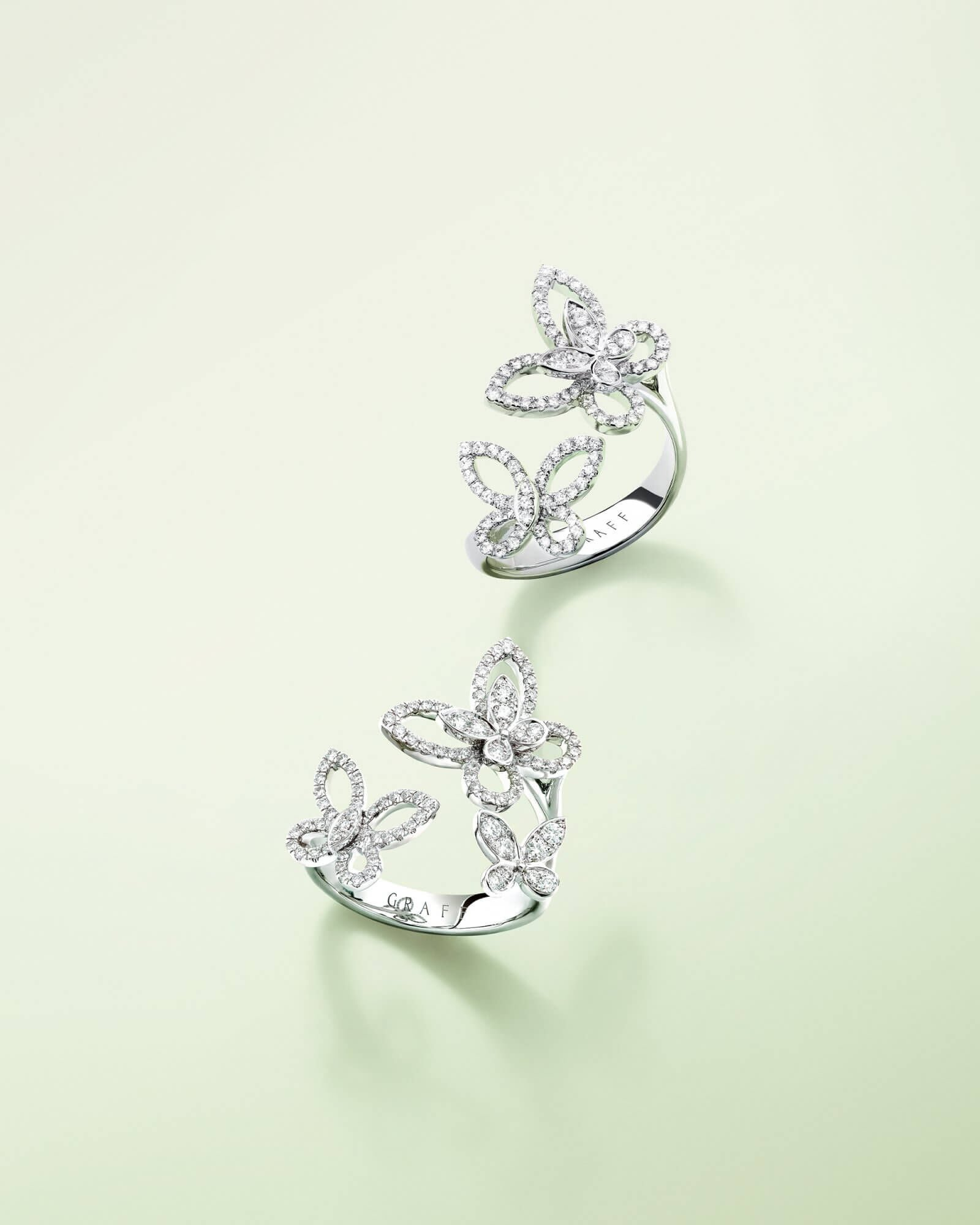 Two dual fingers rings from the Butterfly Silhouette diamond jewellery collection by Graff