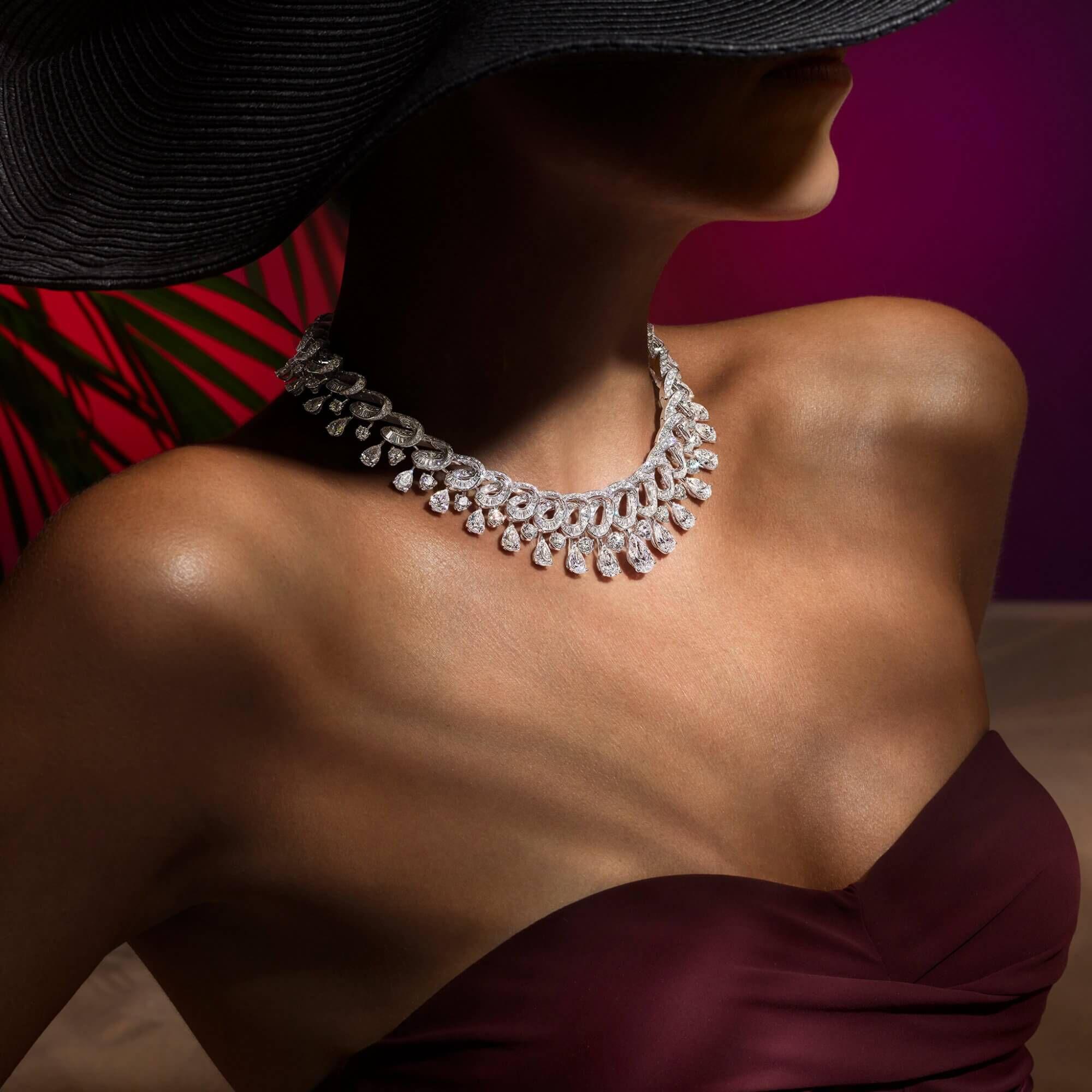 A model wears a Graff high jewellery diamond necklace