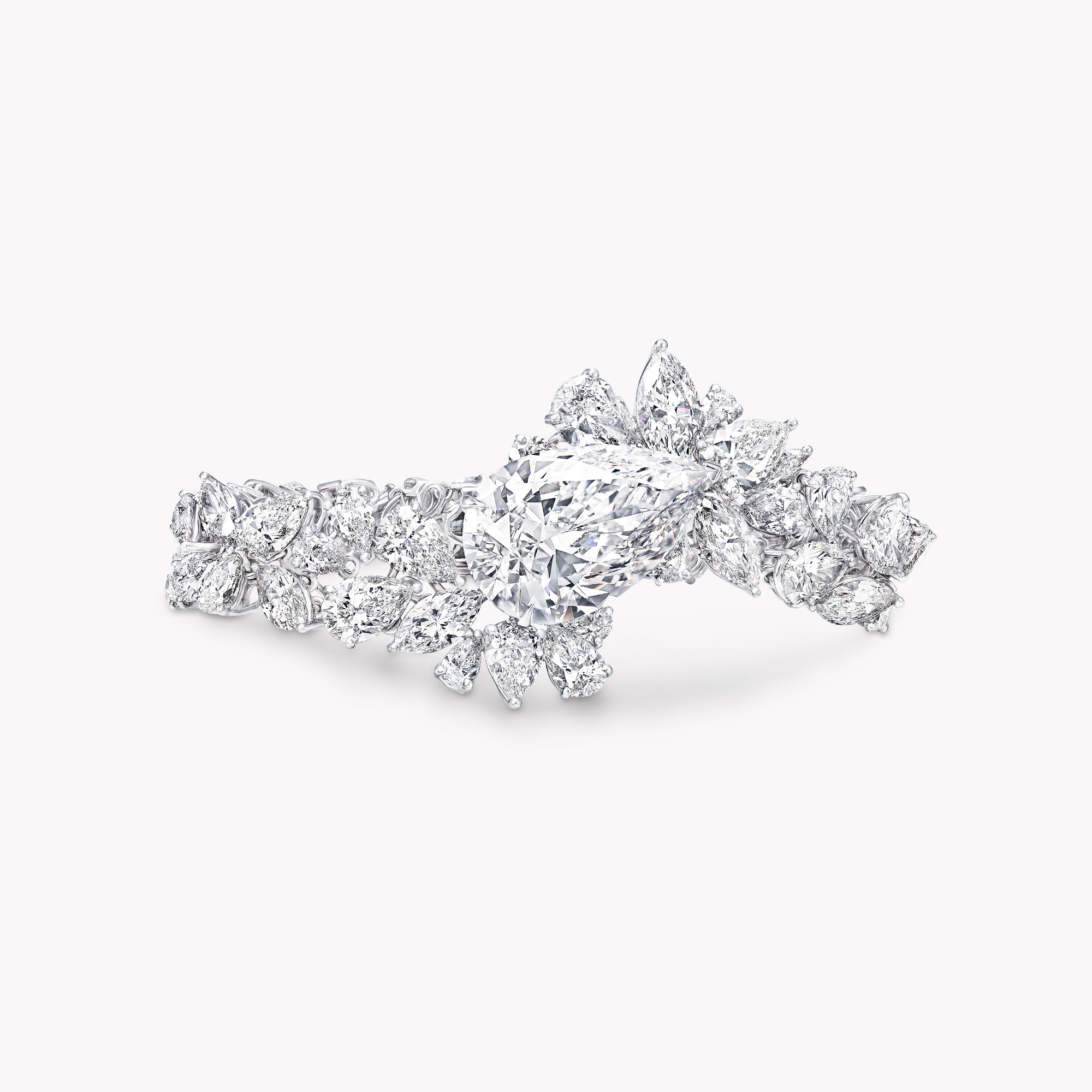 A Graff white diamond high jewellery bracelet featuring a pear shape diamond