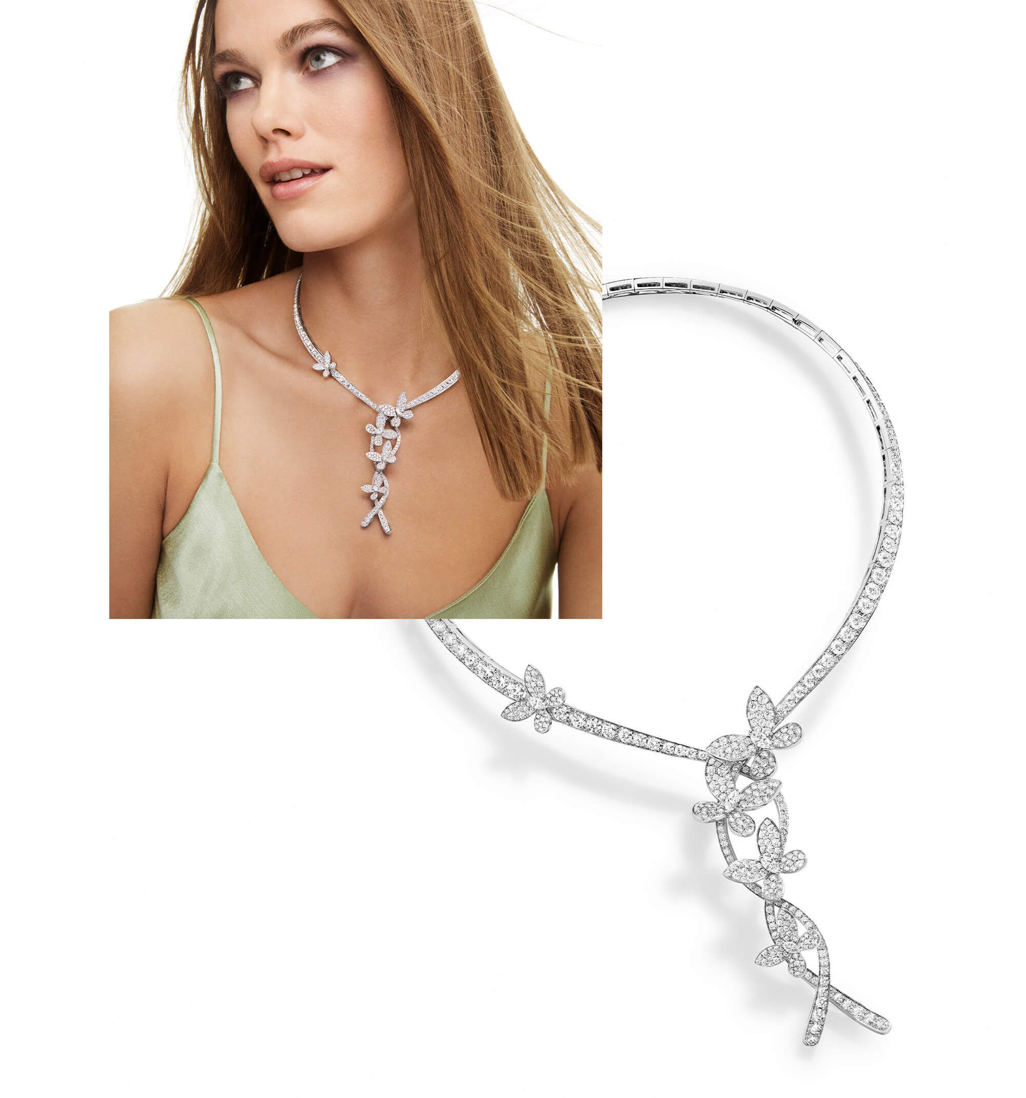 A model wearing the Graff Triple Pave Butterfly diamond necklace