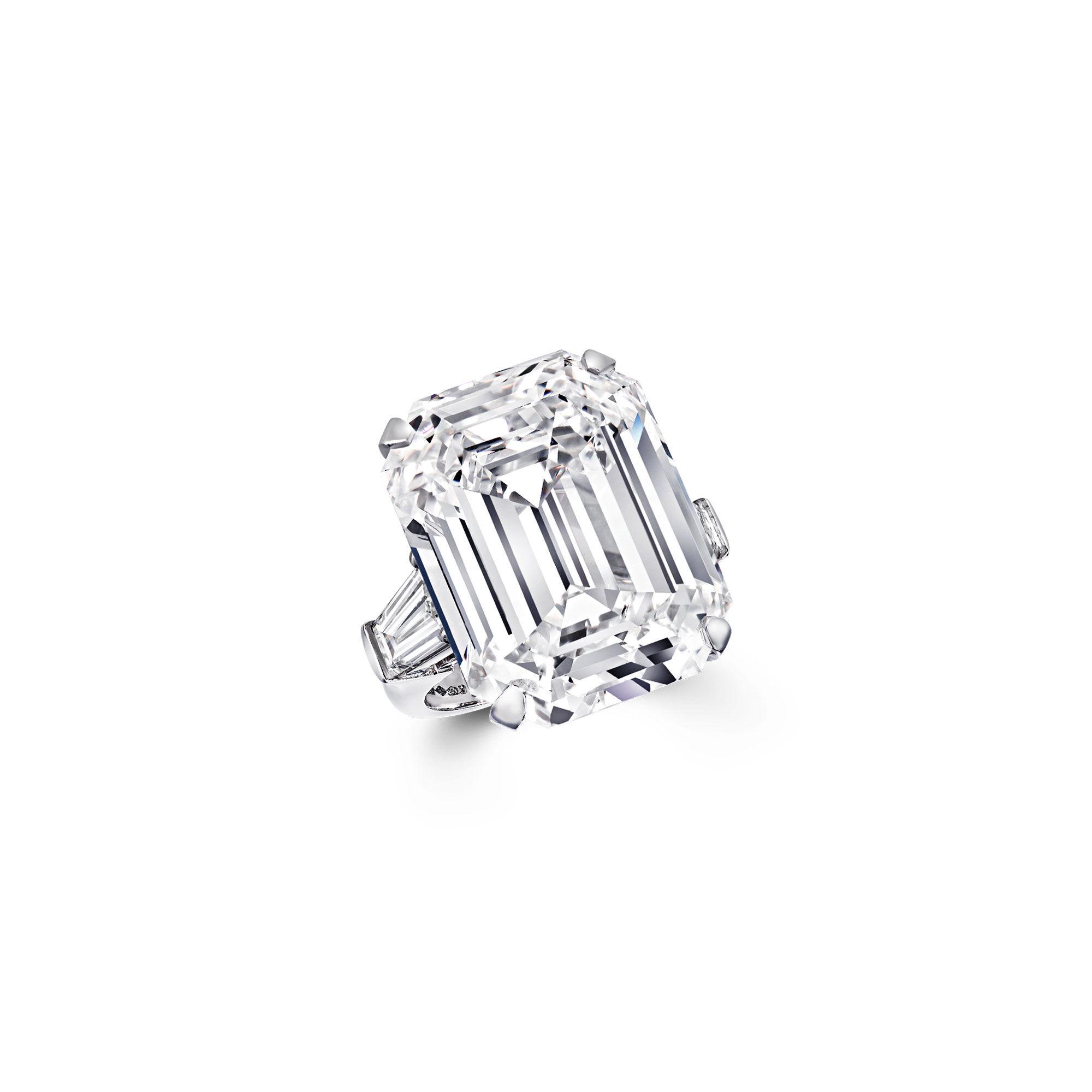 An emerald cut white diamond ring by Graff