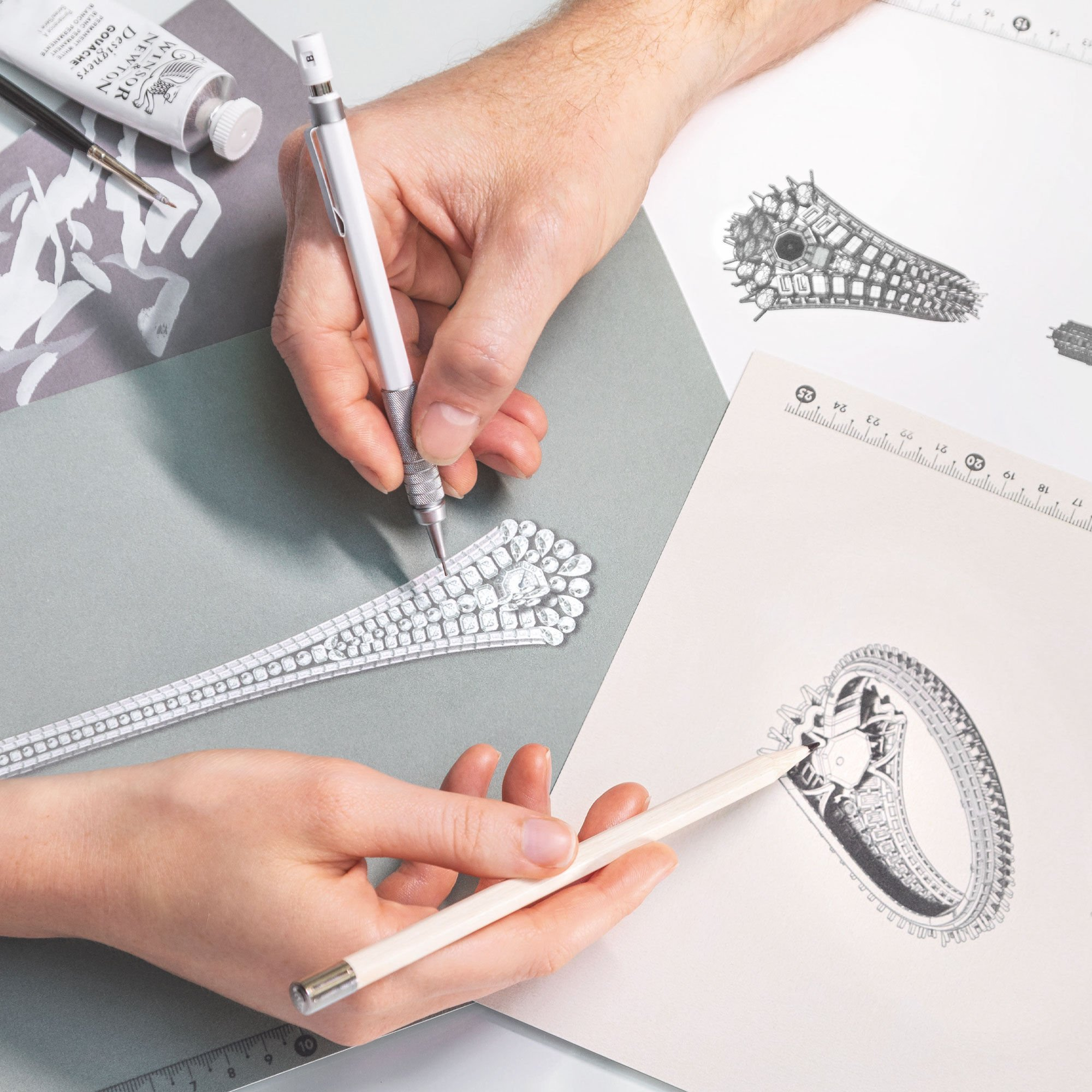 Graff designer sketching the Oval Diamond Secret Watch from the Graff unique timepieces collection