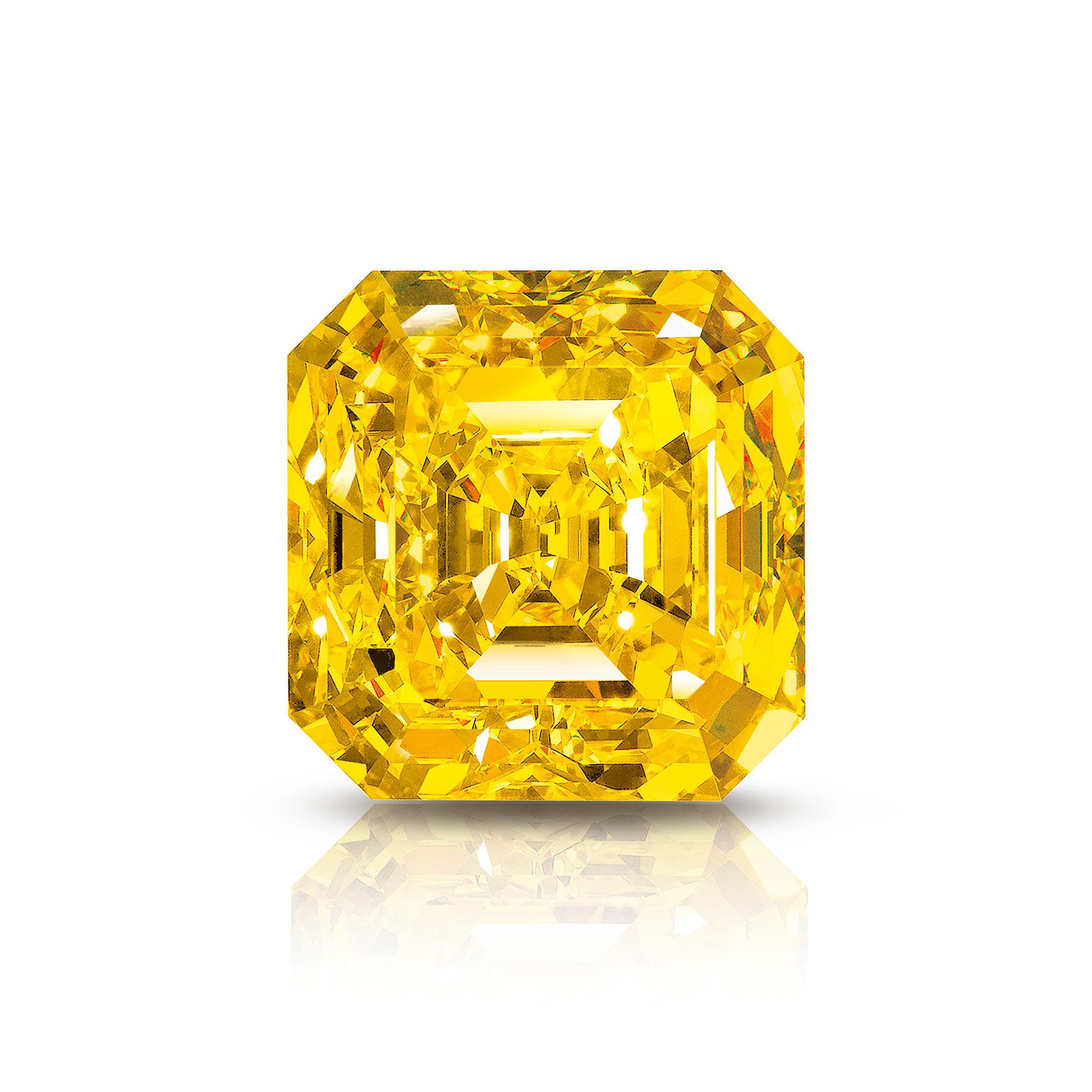 The Graff Delaire Sunrise emerald cut yellow diamond