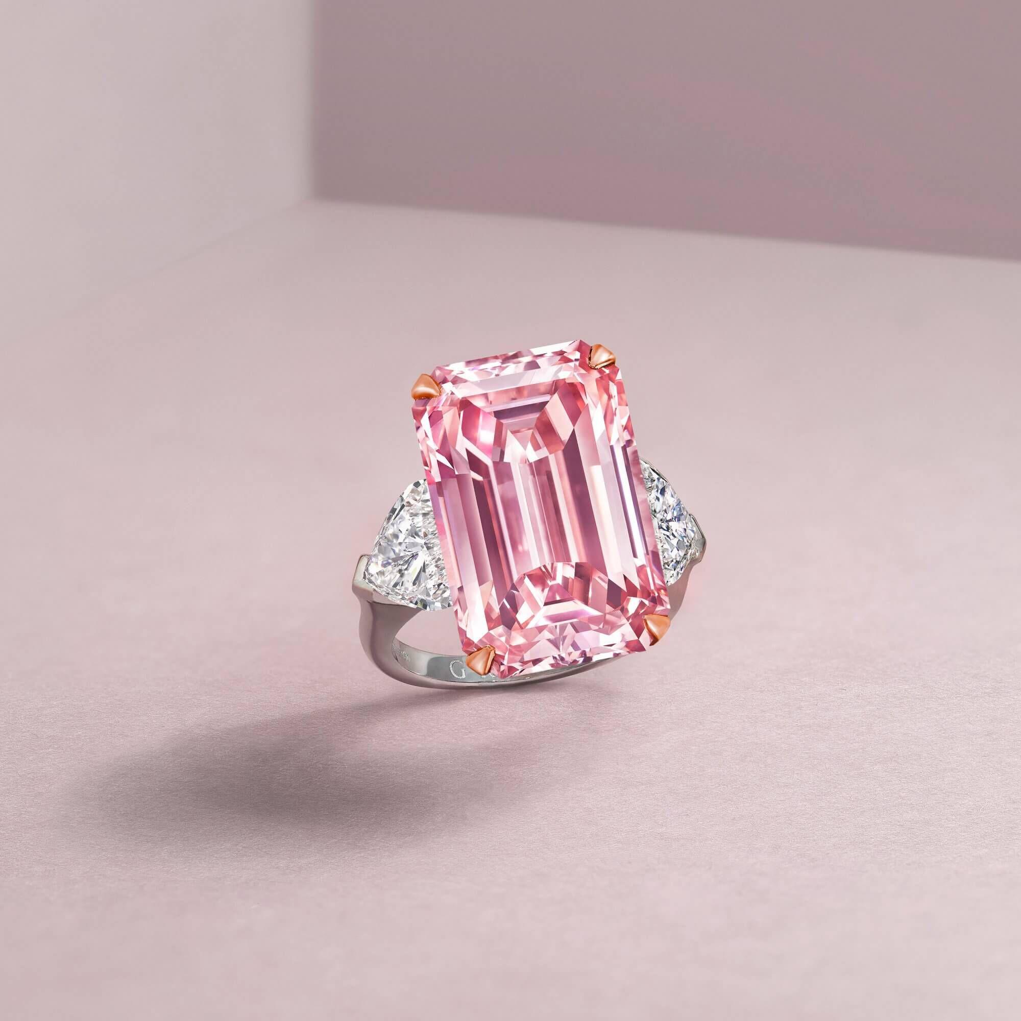 Graff  Promise engagement Emerald cut pink diamond.