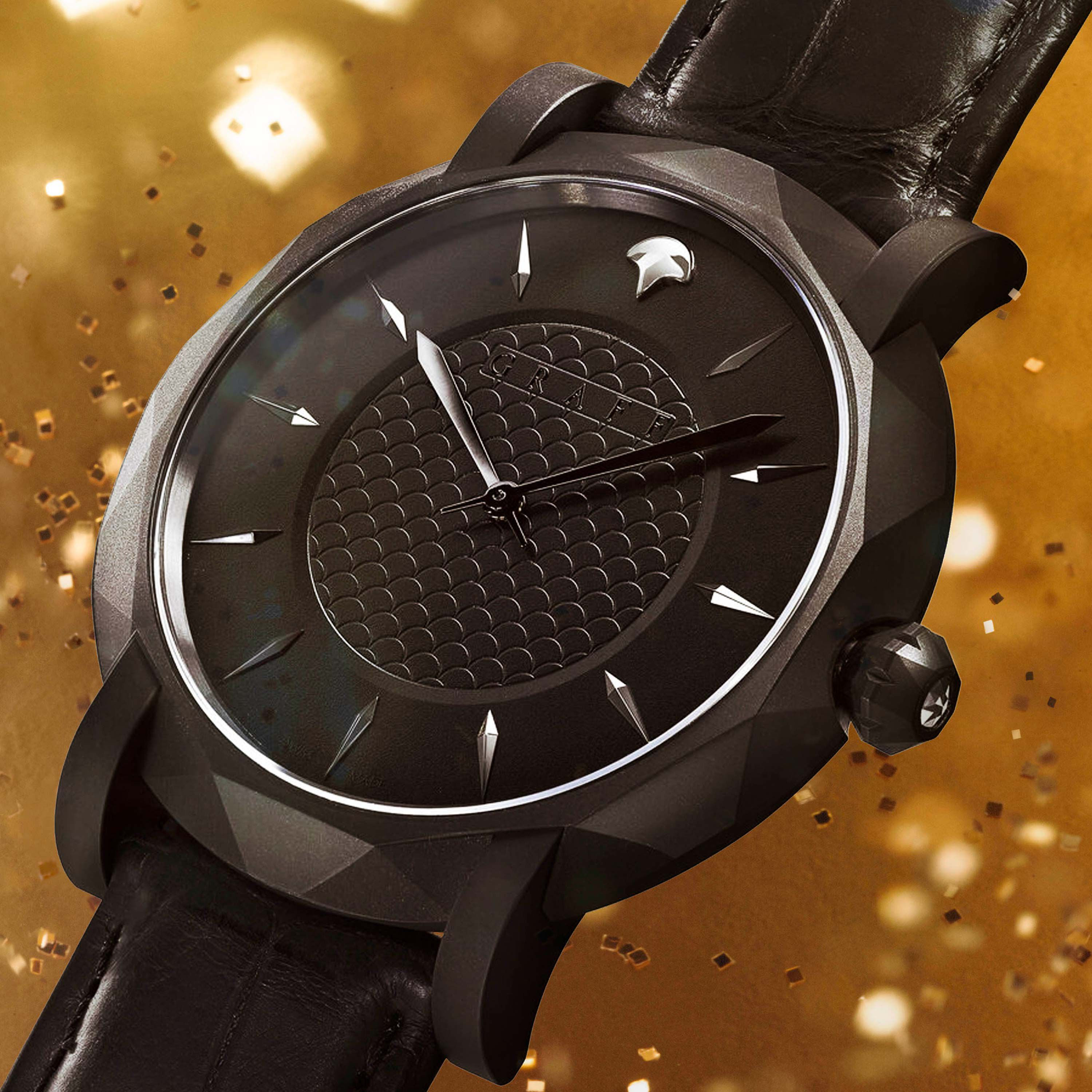 A Graff Eclipse men's watch on a sparkly gold background