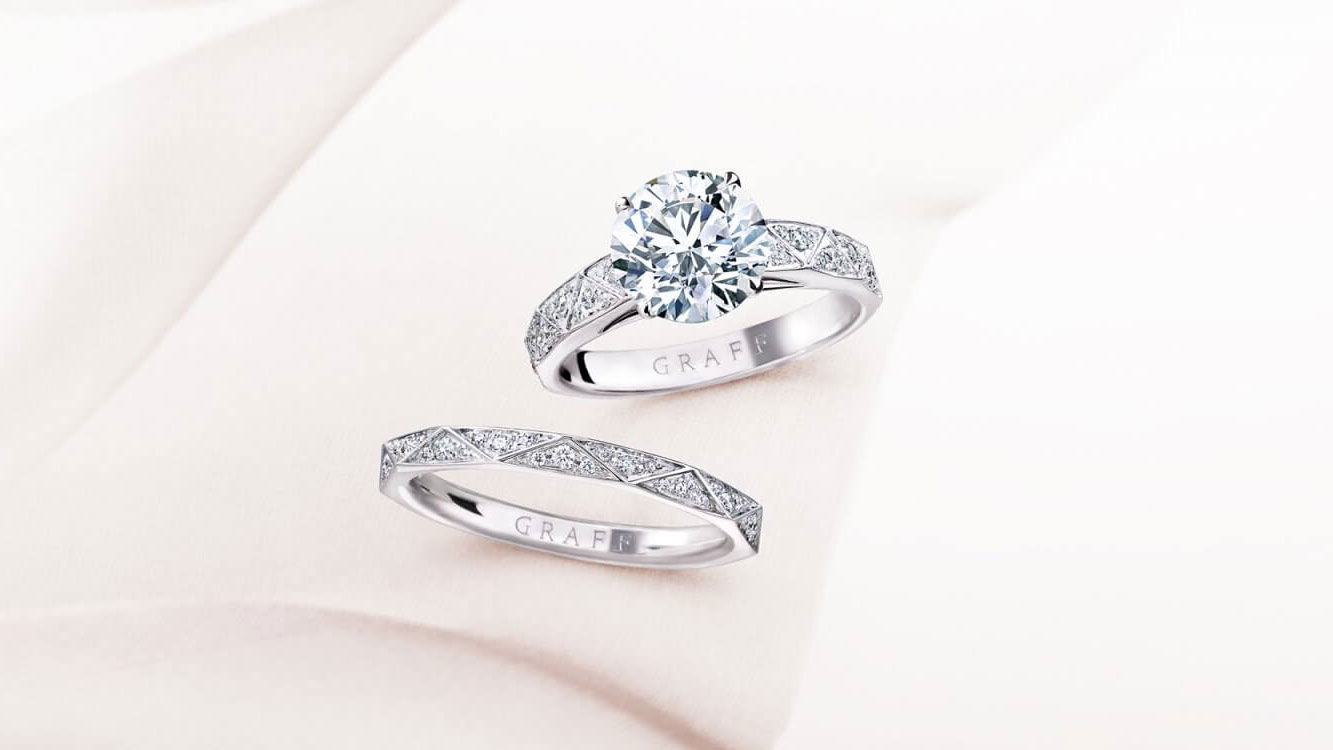 Laurence Graff Signature Round Diamond Engagement Ring and Laurence Graff Signature Diamond Band white gold from the Graff bridal collection