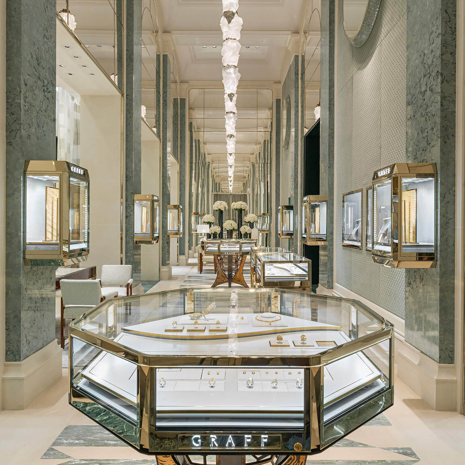Interior of the Graff jewellery flagship boutique in Paris Rue Saint- Honoré, French