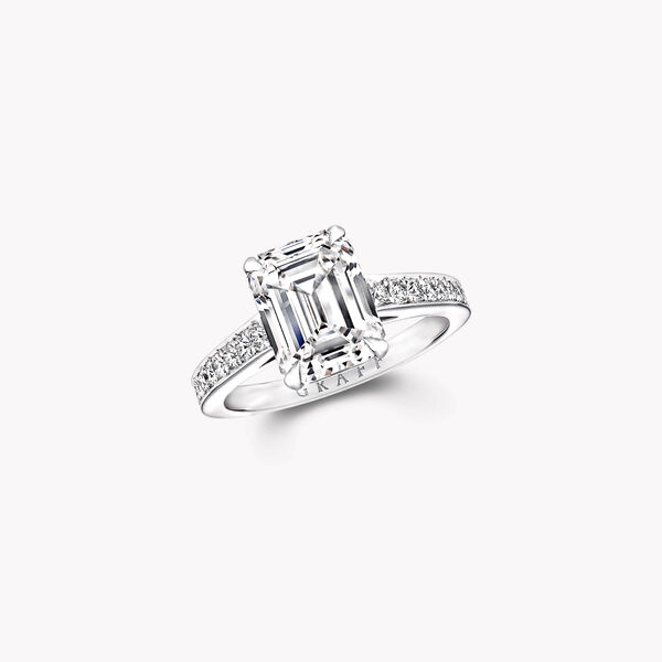 Flame Emerald Cut Diamond Engagement Ring, , hi-res