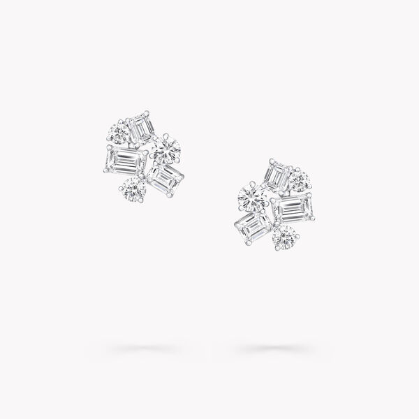 Emerald Cut and Round Diamond Stud Earrings, , hi-res