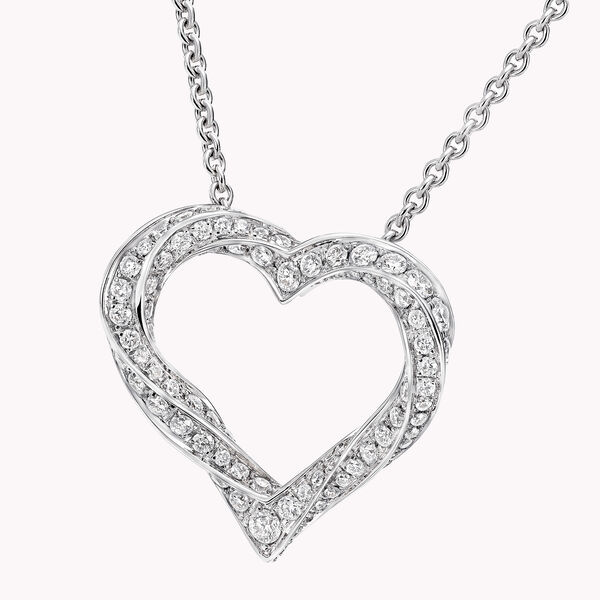 Spiral Heart Silhouette Pavé Diamond Pendant, , hi-res