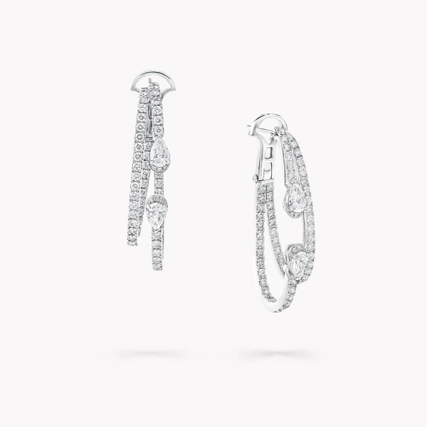 Duet Diamond Double Hoop Earrings, , hi-res
