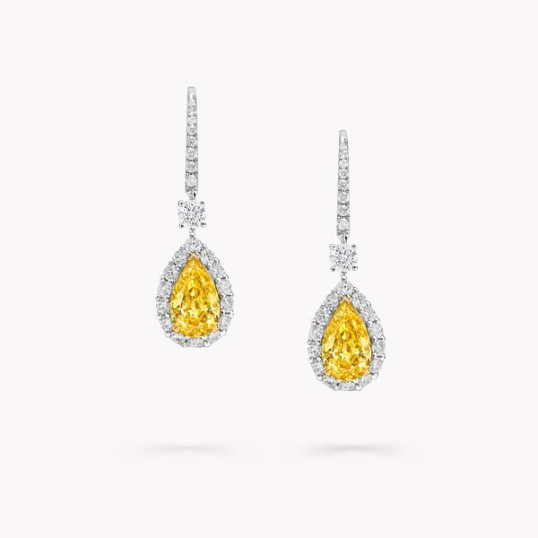 Icon梨形黃鑽和白鑽耳環, , hi-res