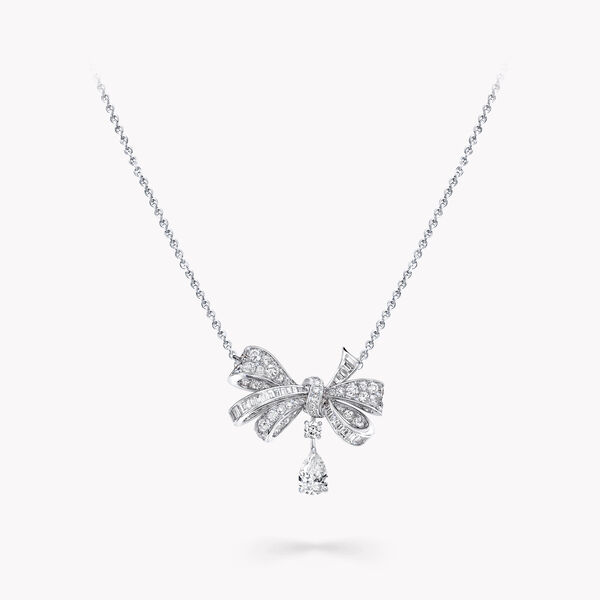 Tilda's Bow Classic Diamond Drop Pendant, , hi-res