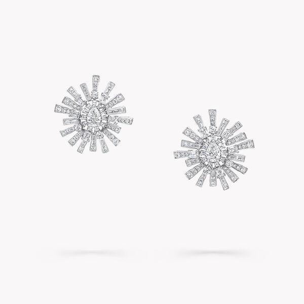 Boucles d'oreilles haute joaillerie en diamants motif La Nouvelle Aube, , hi-res