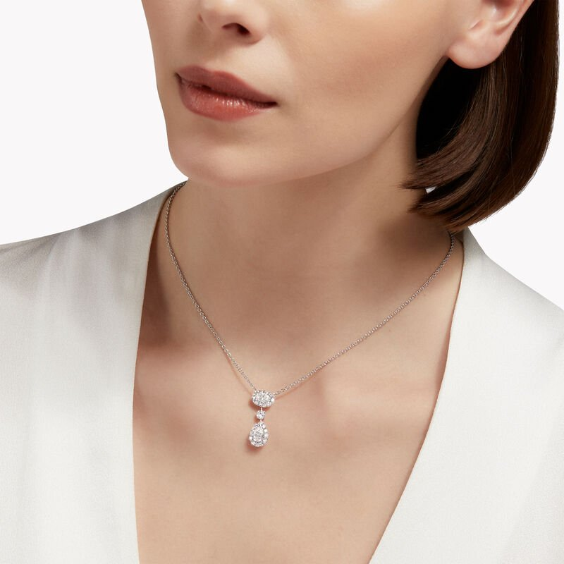 Icon Oval and Pear Shape Diamond Drop Necklace, , hi-res