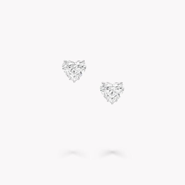 Heart Shape Diamond Stud Earrings, , hi-res