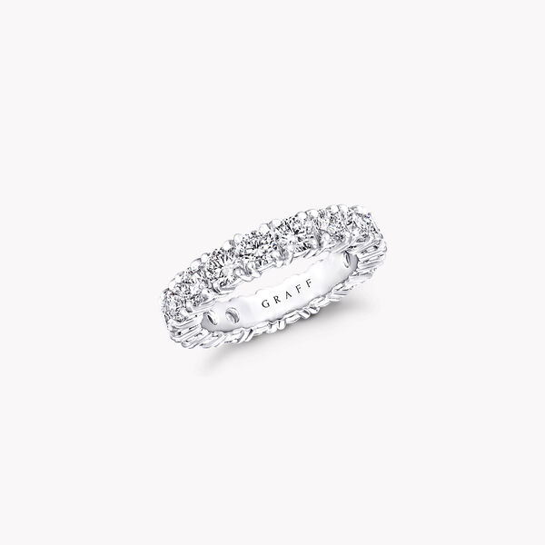 Four Claw Round Diamond Wedding Band, , hi-res