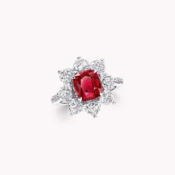 枕形切割紅寶石高級珠寶戒指, , hi-res