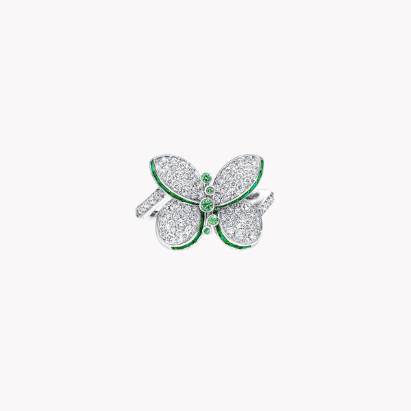 Princess Butterfly Emerald and Diamond Ring, , hi-res
