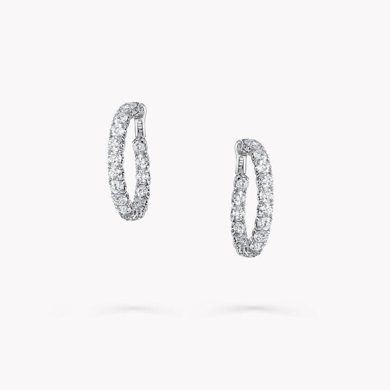 Round Diamond Hoop Earrings, , hi-res