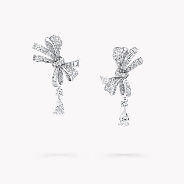 Tilda's Bow Classic Diamond Drop Earrings, , hi-res