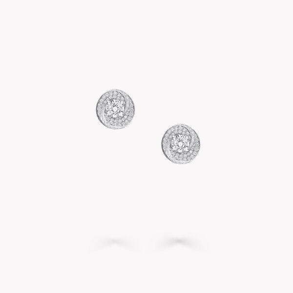 Swirl圓形鑽石耳釘, , hi-res