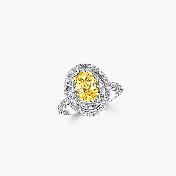 Twin Constellation Oval Yellow Diamond Engagement Ring, , hi-res