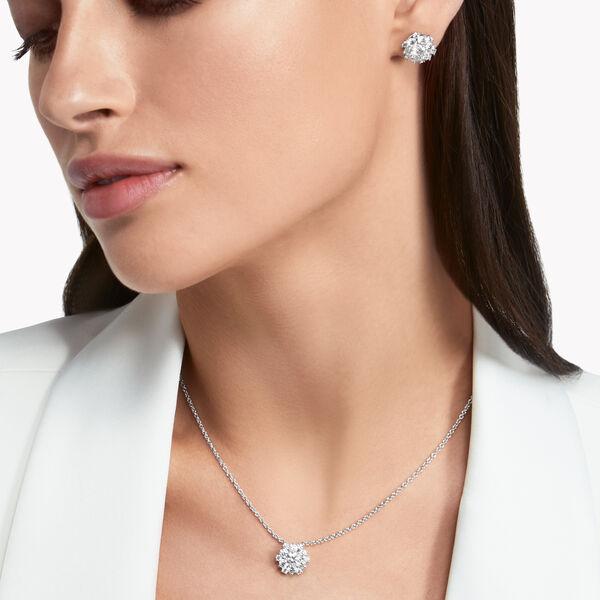 Round Diamond Cluster Stud Earrings, , hi-res