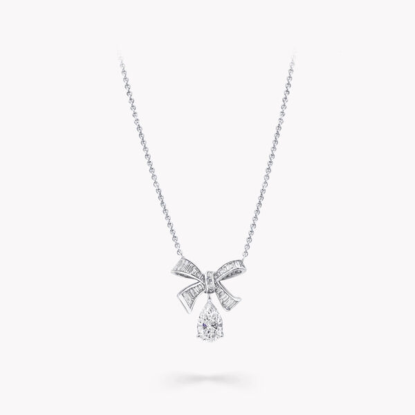 Tilda's Bow Baguette Cut Diamond Drop Pendant, , hi-res