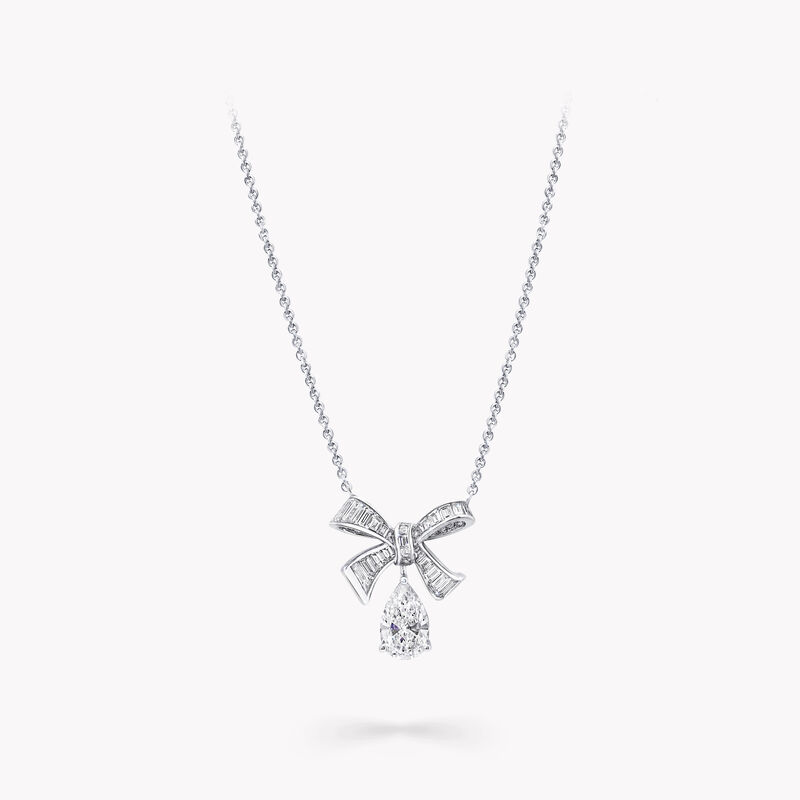 Tilda's Bow Baguette Cut Diamond Drop Pendant, , hi-res