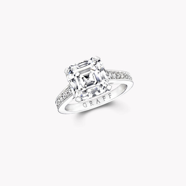 Flame Square Emerald Cut Diamond Engagement Ring, , hi-res