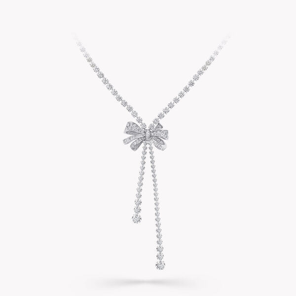 Tilda's Bow Double Strand Round Diamond Necklace, , hi-res