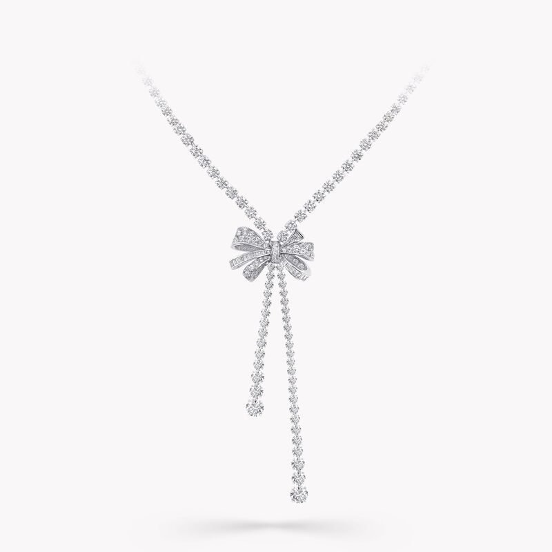 Bow Double Strand Round Diamond Necklace, , hi-res