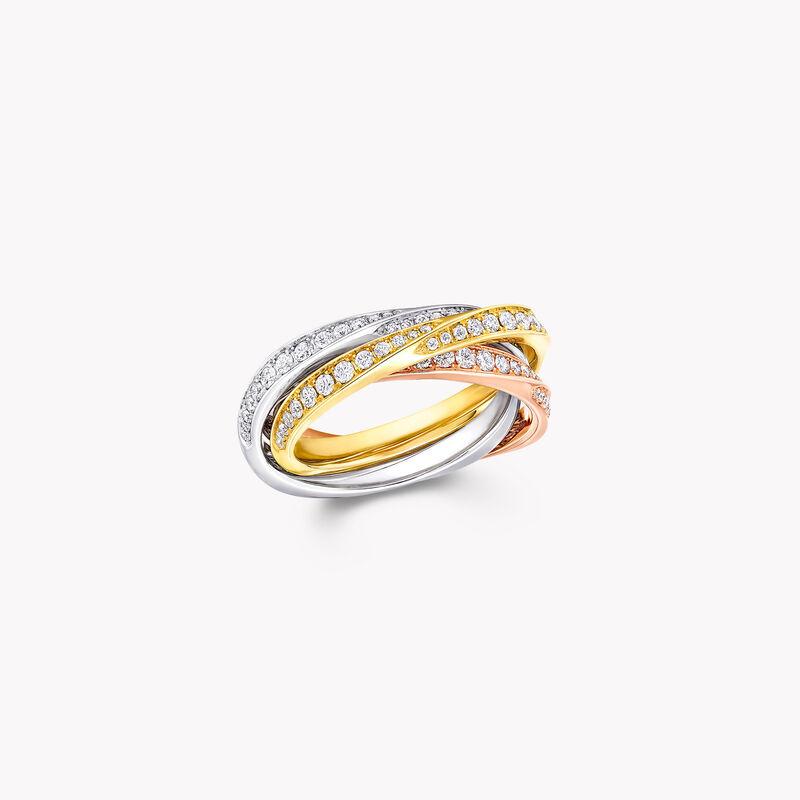Triple bague en pavés de diamants Spiral, , hi-res