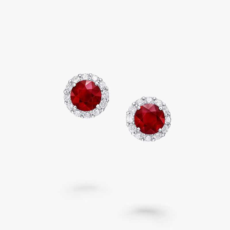 Icon Round Ruby and Diamond Stud Earrings, , hi-res