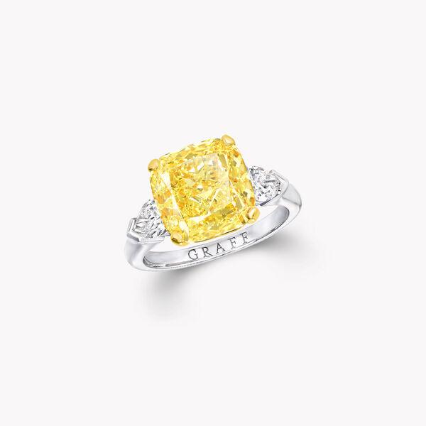 프로미스 쿠션 컷 옐로우 다이아몬드 인게이지먼트 링, , hi-res
