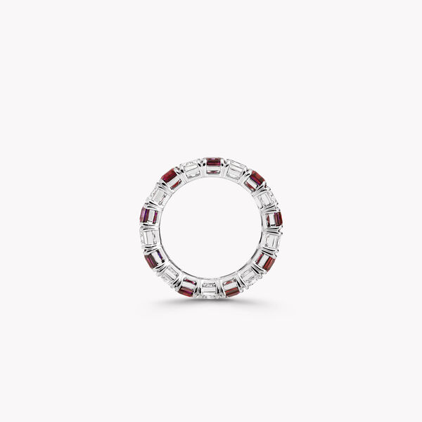 Emerald Cut Ruby and Diamond Wedding Band, , hi-res