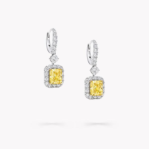 Icon雷地恩形切割黃鑽和白鑽耳環, , hi-res