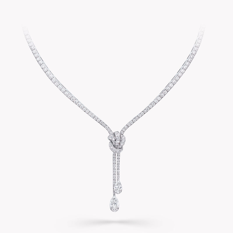 Tilda's Bow Double Pavé Diamond Drop Necklace, , hi-res