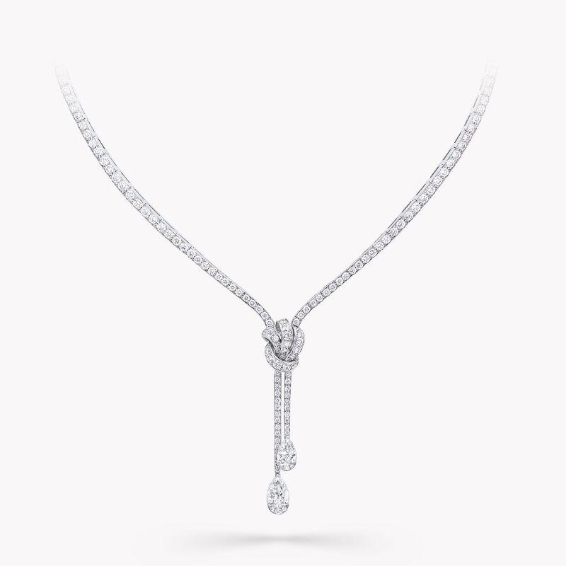 틸다의 보우  파베 다이아몬드 드롭 네클리스, , hi-res